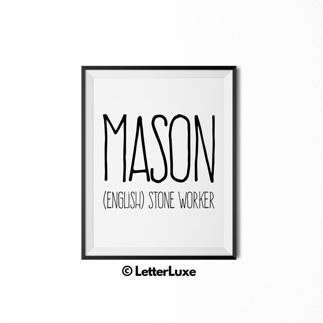 Mason Name Meaning Nursery Wall Decor - Baby Shower Gift - LetterLuxe