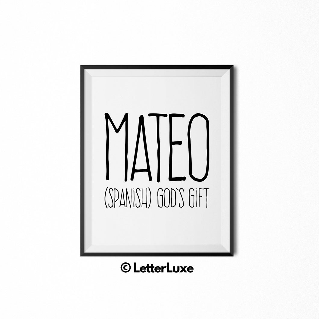 Mateo Kids Gift -  Baby Shower Decorations - LetterLuxe