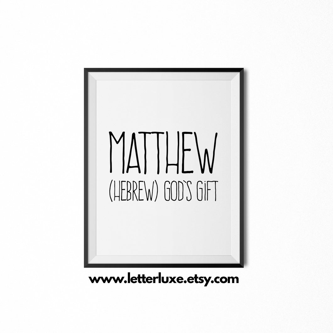 Matthew Printable Kids Gift - Instant Download - LetterLuxe