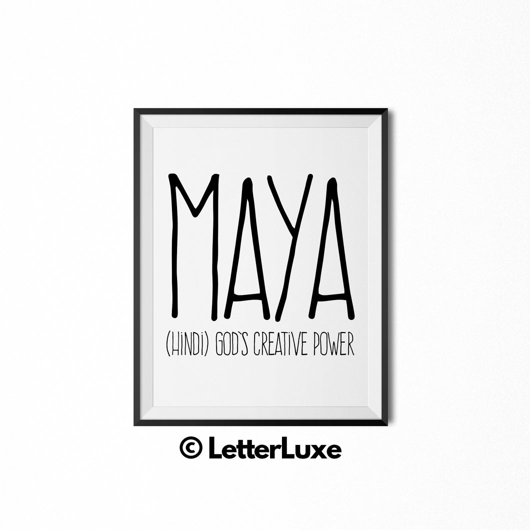 Maya Printable Bedroom Decor - Birthday Party Decoration Idea - LetterLuxe