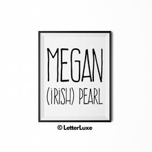 Megan Name Meaning Art - Gallery Wall Decorations - Entryway Family Art - LetterLuxe