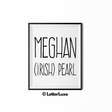 Meghan Name Meaning Art - Gallery Wall Decorations - Entryway Family Art - LetterLuxe