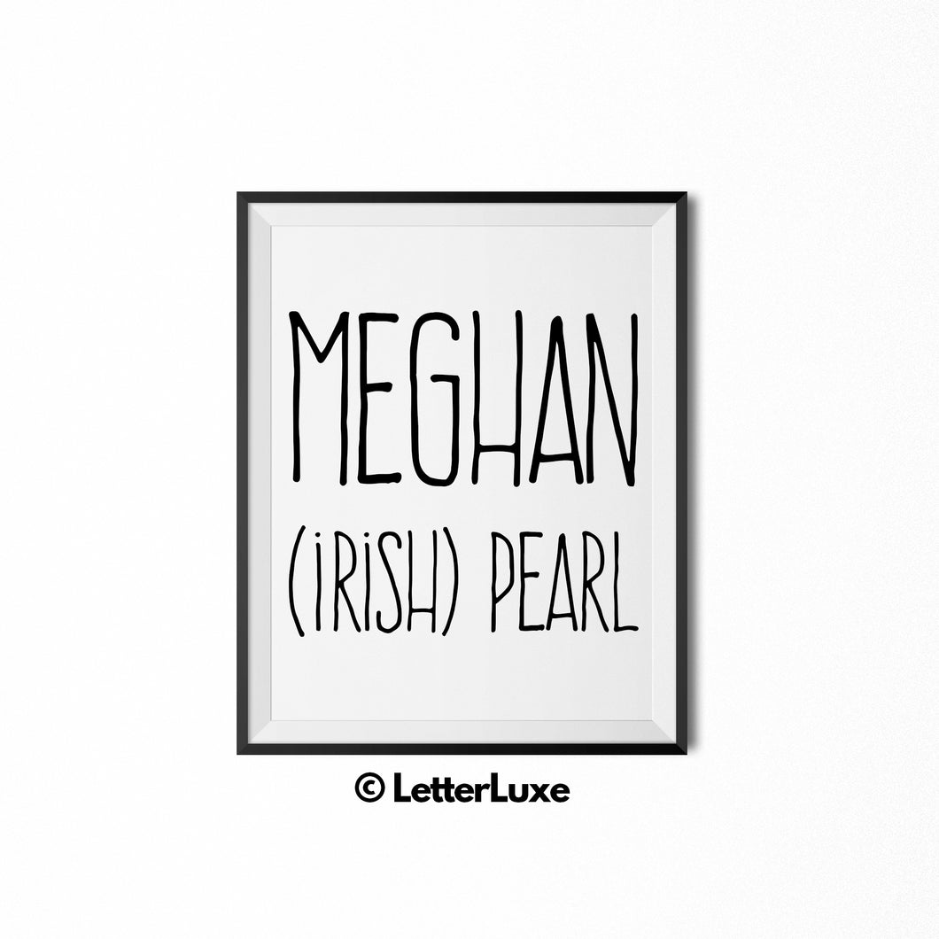 Meghan Name Meaning Art - Gallery Wall Decorations - Entryway Family Art