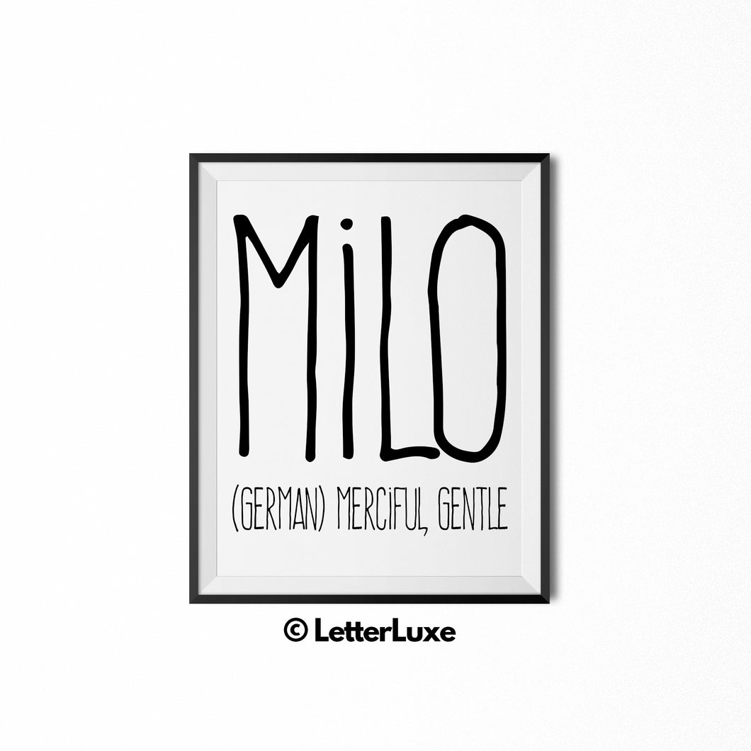 Milo Personalized Bedroom Decor - Birthday Party Decorations - Gift for Dad or Brother - LetterLuxe