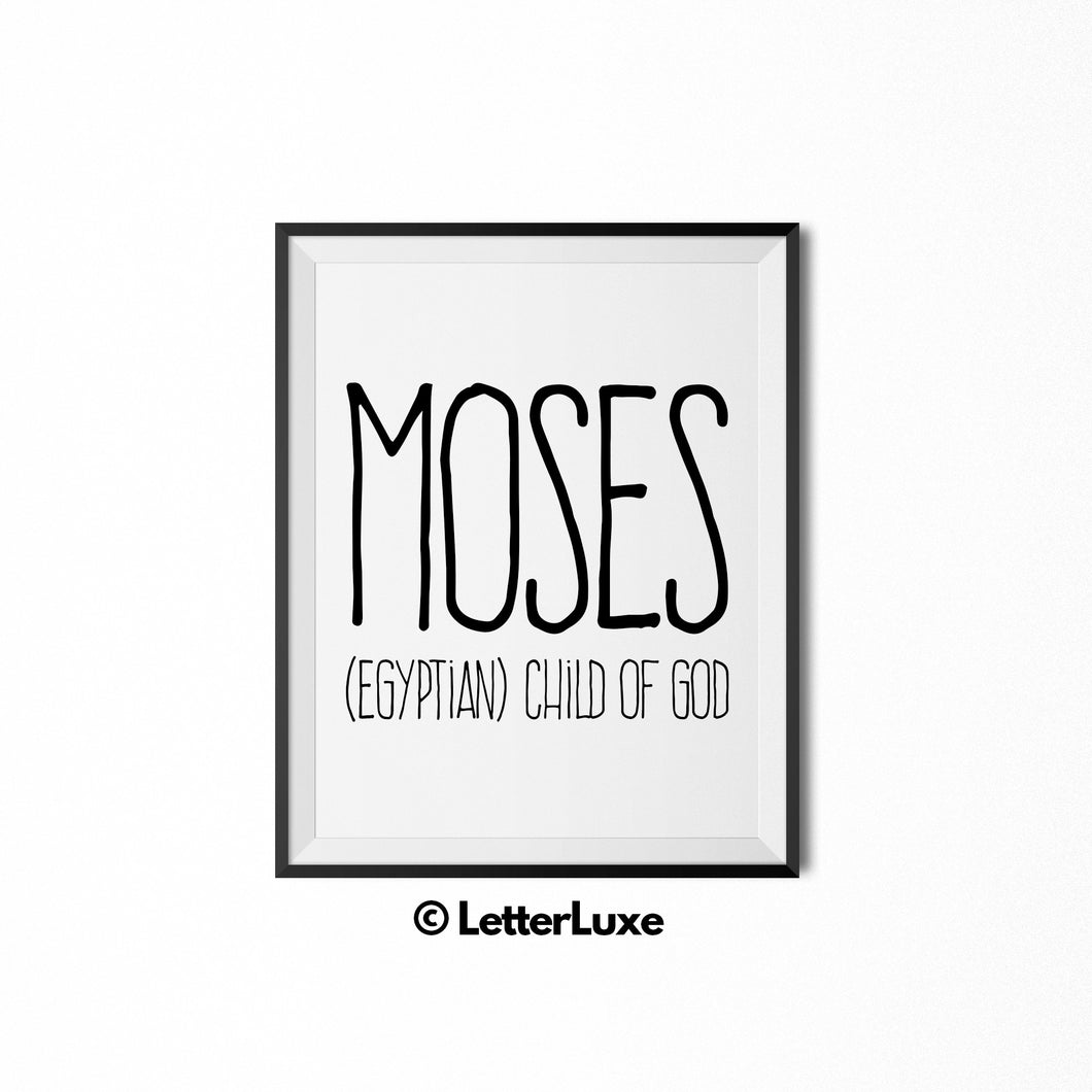 Moses Personalized Nursery Decor - Baby Shower Decorations - LetterLuxe