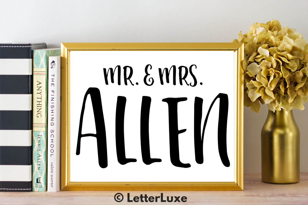 Mr. & Mrs. Allen - Personalized Last Name Gallery Wall Art Print - Digital Download - LetterLuxe