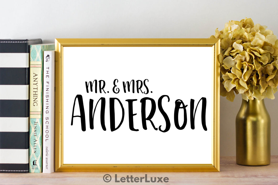 Mr. & Mrs. Anderson Last Name Art Print - Digital Download - LetterLuxe - LetterLuxe