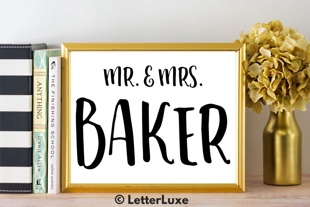 Mr. & Mrs. Baker - Personalized Last Name Gallery Wall Art Print - Digital Download - LetterLuxe