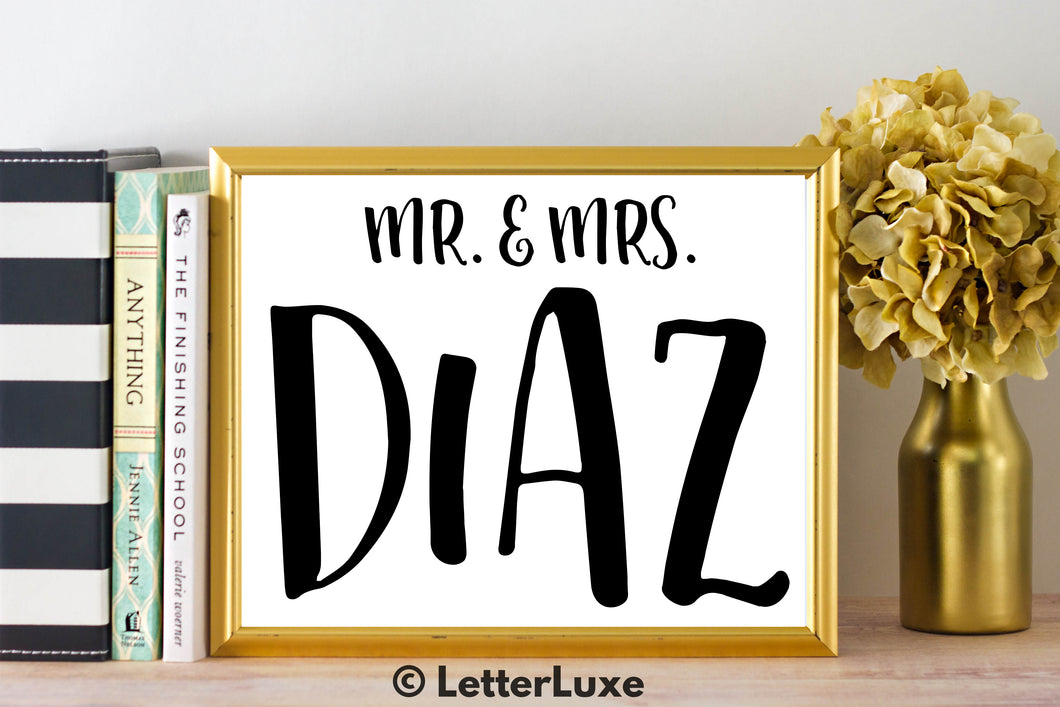Mr. & Mrs. Diaz - Personalized Last Name Gallery Wall Art Print - Digital Download - LetterLuxe - LetterLuxe