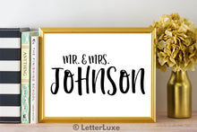 Mr. & Mrs. Johnson Last Name Art Print - Digital Download - LetterLuxe - LetterLuxe