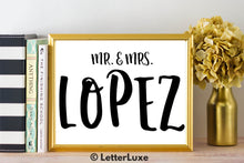 Mr. & Mrs. Lopez - Personalized Last Name Gallery Wall Art Print - Digital Download - LetterLuxe