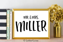 Mr. & Mrs. Miller Last Name Art Print - Digital Download - LetterLuxe - LetterLuxe