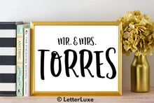 Mr. & Mrs. Torres - Personalized Last Name Gallery Wall Art Print - Digital Download - LetterLuxe - LetterLuxe