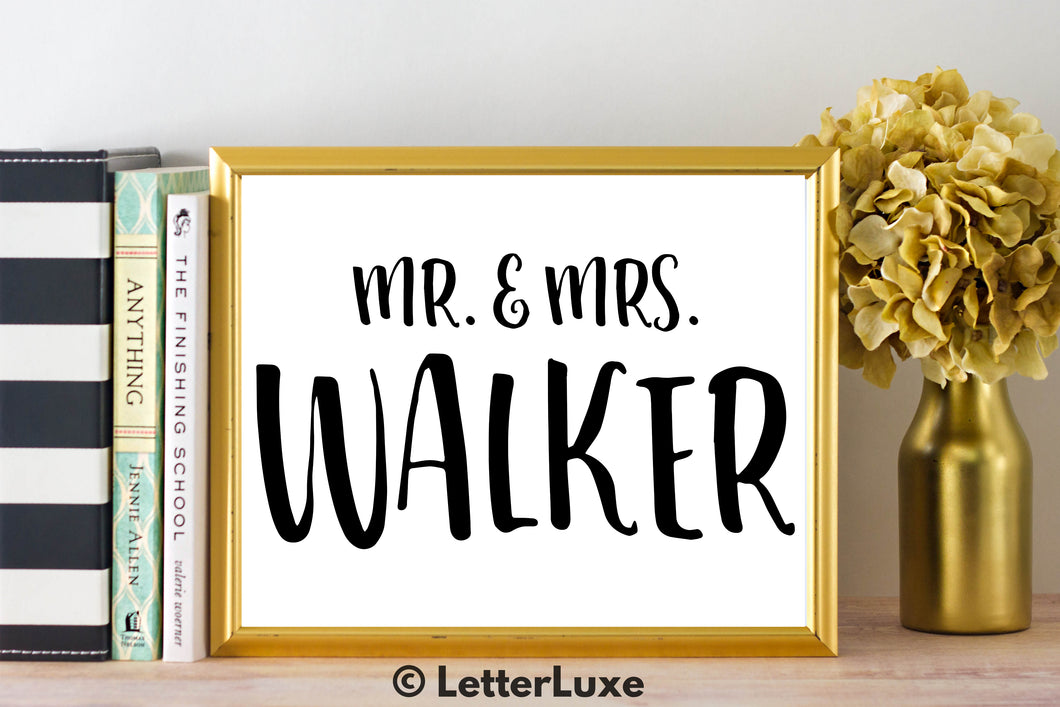 Mr. & Mrs. Walker - Personalized Last Name Gallery Wall Art Print - Digital Download - LetterLuxe - LetterLuxe