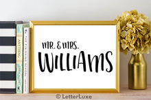 Mr. & Mrs. Williams Last Name Art Print - Digital Download - LetterLuxe - LetterLuxe