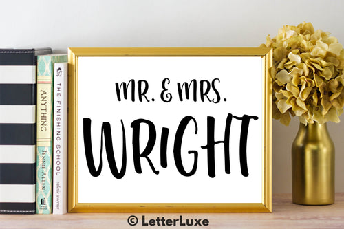 Mr. & Mrs. Wright - Personalized Last Name Gallery Wall Art Print - Digital Download - LetterLuxe - LetterLuxe