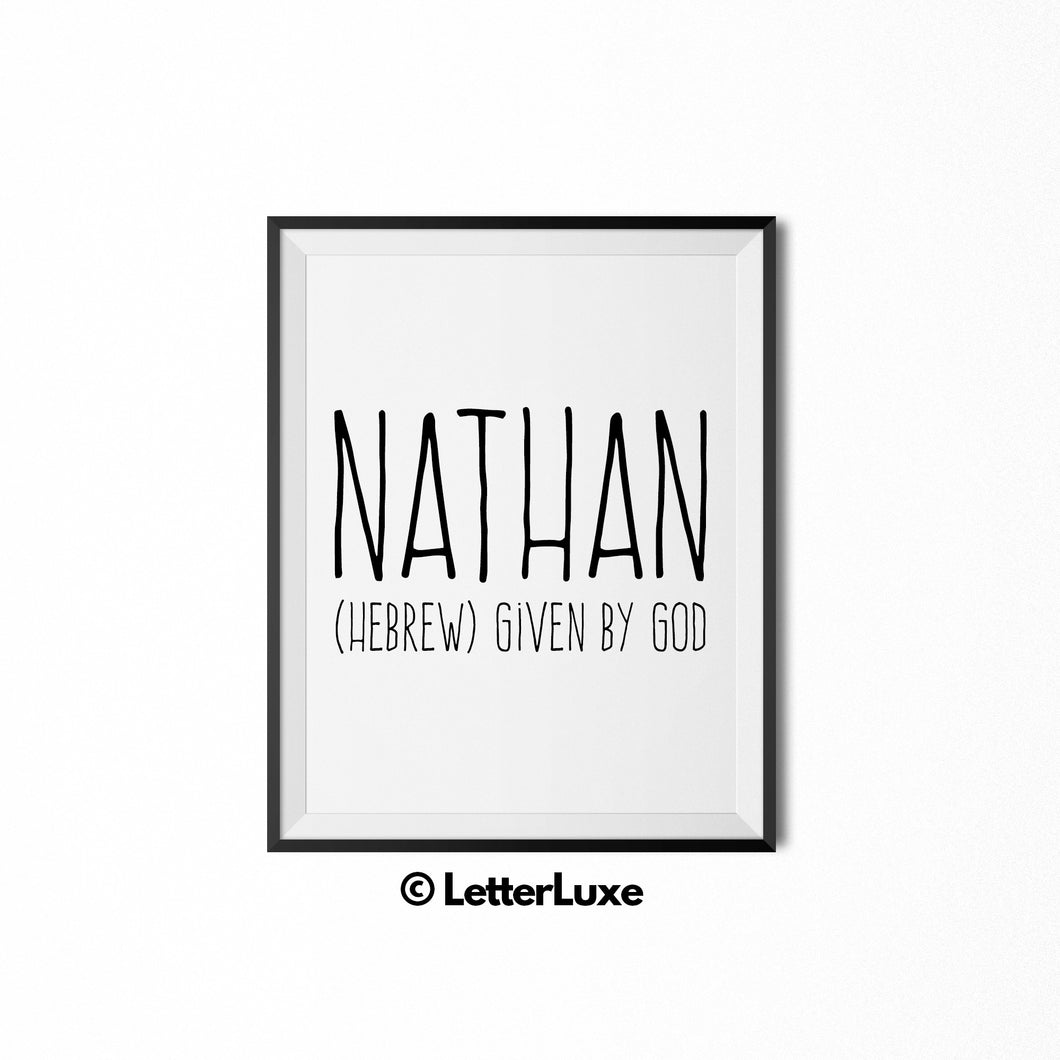Nathan Printable Kids Gift - Nursery Decor - LetterLuxe