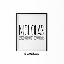 Nicholas Digital Name Meaning Art - LetterLuxe