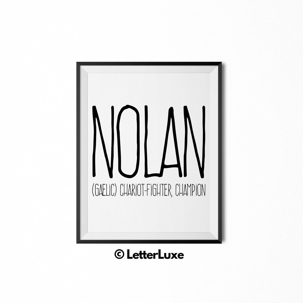 Nolan Name Meaning Art - Typography Wall Decor - LetterLuxe