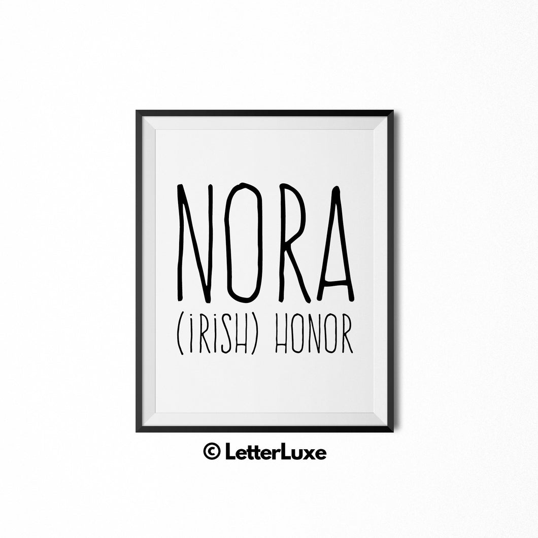 Nora Name Meaning Art - New Baby Gift - LetterLuxe