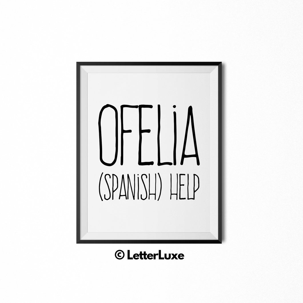 Ofelia Name Meaning Nursery Art