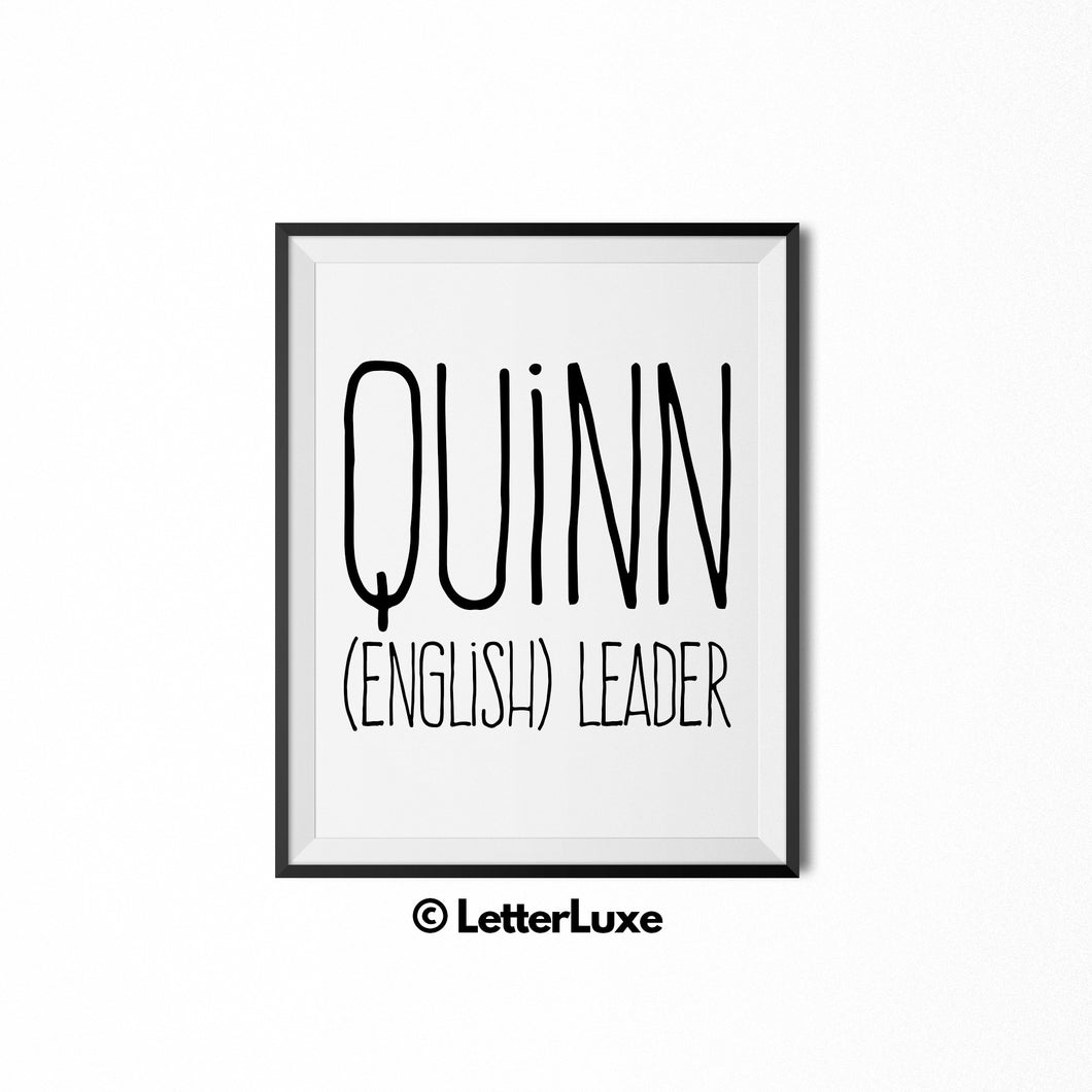 Quinn Personalized Nursery Decor - Baby Shower Decorations - LetterLuxe