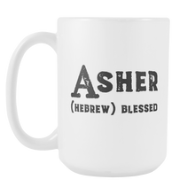 Asher Name Meaning Mug - 15oz Ceramic Cup - Husband Dad Grandfather Gift Mug - Right-Handed or Left-Handed Mug - Gift for Man - LetterLuxe