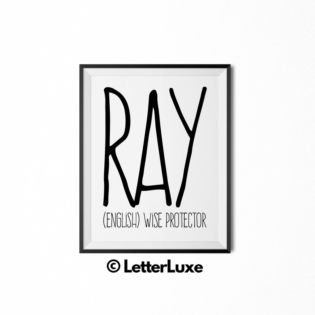 Ray Name Definition Art - Digital Print - LetterLuxe