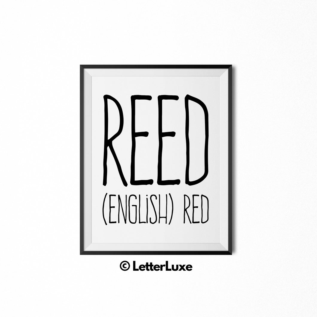 Reed Name Definition Art - Digital Print