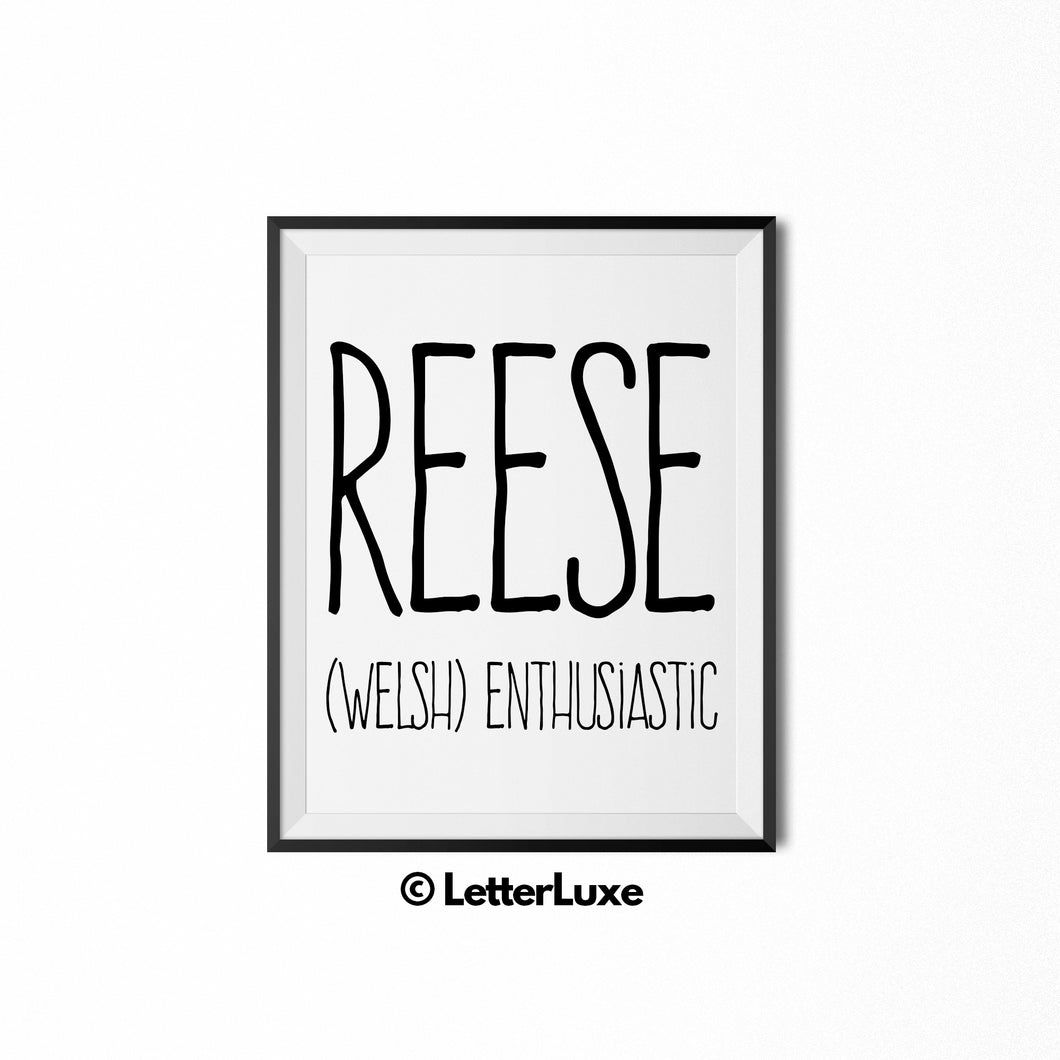 Reese Name Meaning Print - Printable Birthday Gift - Personalized Baby Shower Decorations - LetterLuxe