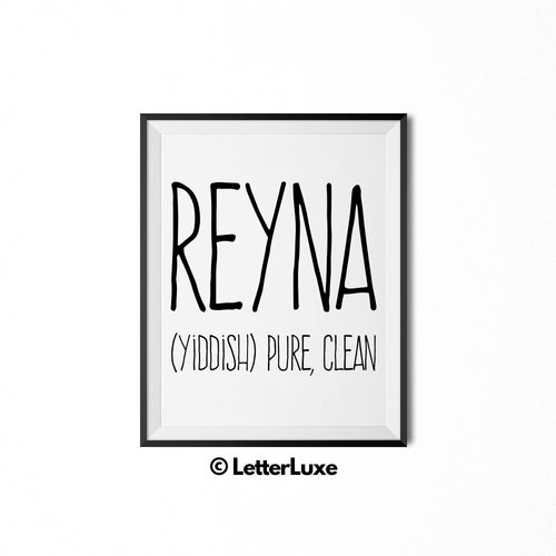 Reyna Printable Nursery Decor - Name Meaning Gift - Jewish Baby Shower Decoration - LetterLuxe