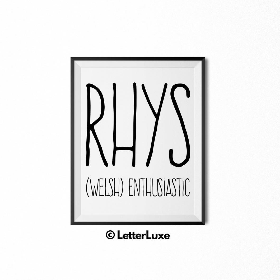 Rhys Printable Kids Gift - Personalized Baby Shower Gift - Name Meaning Art - Baby Boy Bedroom Decor - LetterLuxe