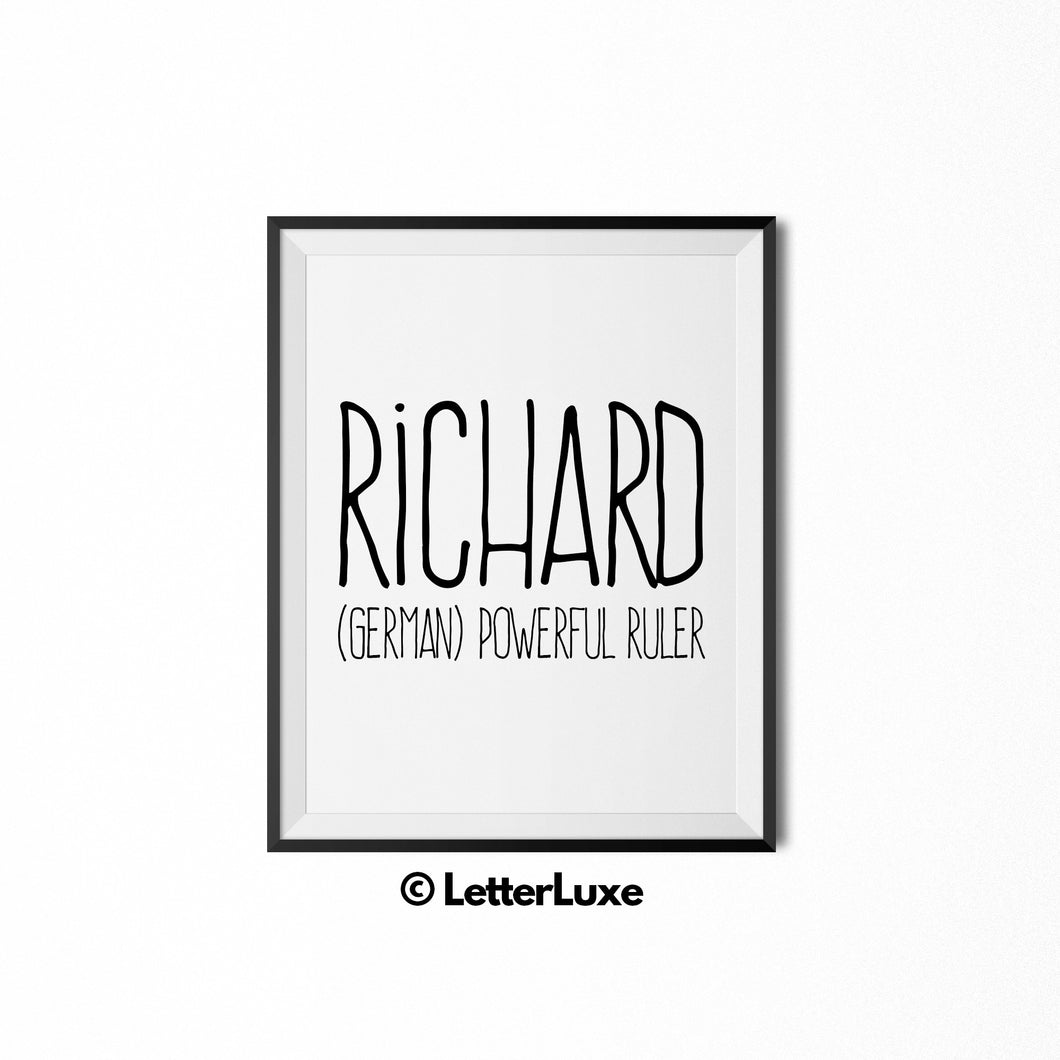 Richard Personalized Nursery Decor - Digital Party Decorations - LetterLuxe