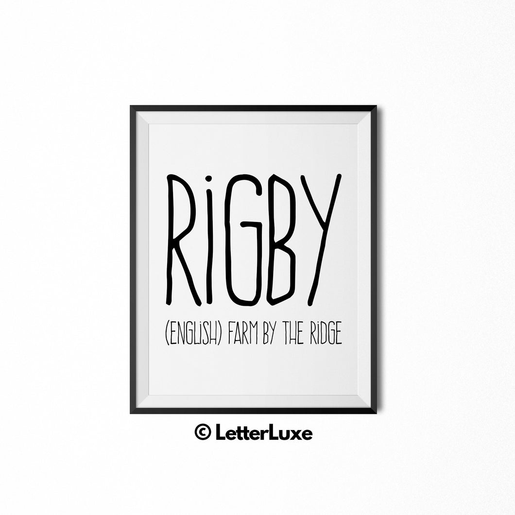 Rigby Printable Kids Gift - Typography Wall Decor