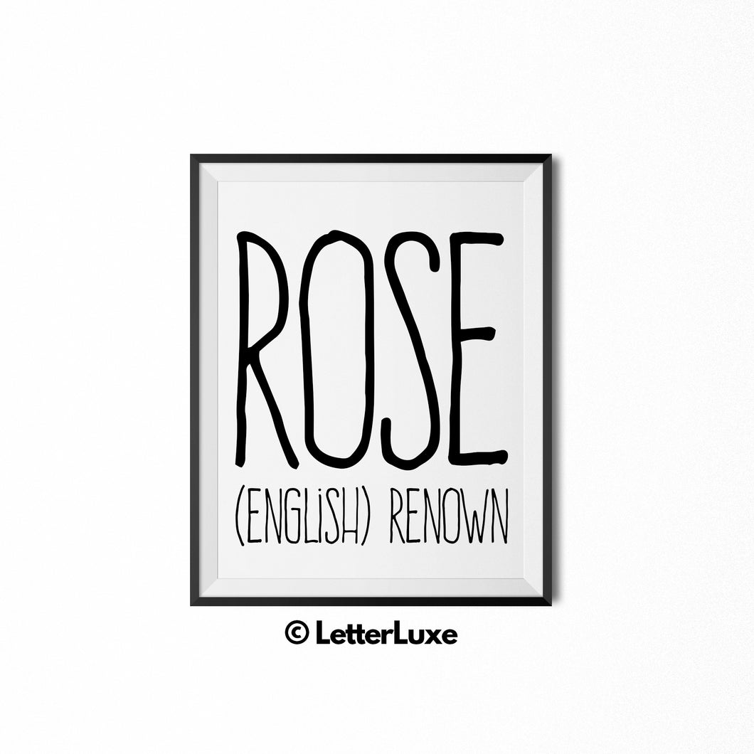 Rose Printable Bedroom Decor - Birthday Gift Idea for Women - LetterLuxe
