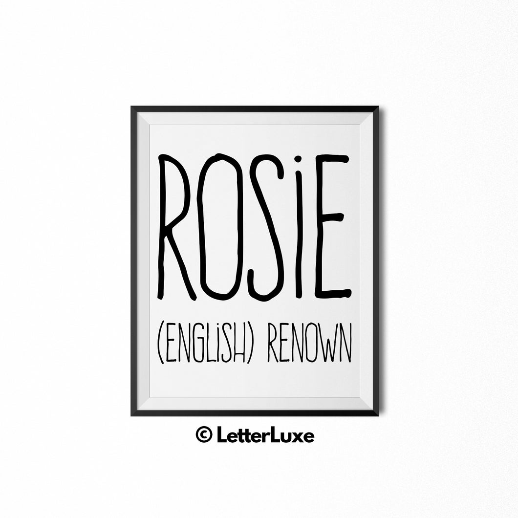 Rosie Name Meaning Art - Printable Baby Shower Gift - Birthday Pary Decorations