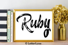 Ruby Name Art - Printable Gallery Wall - Romantic Bedroom Decor - Living Room Printable - Last Minute Gift for Mom or Girlfriend - LetterLuxe