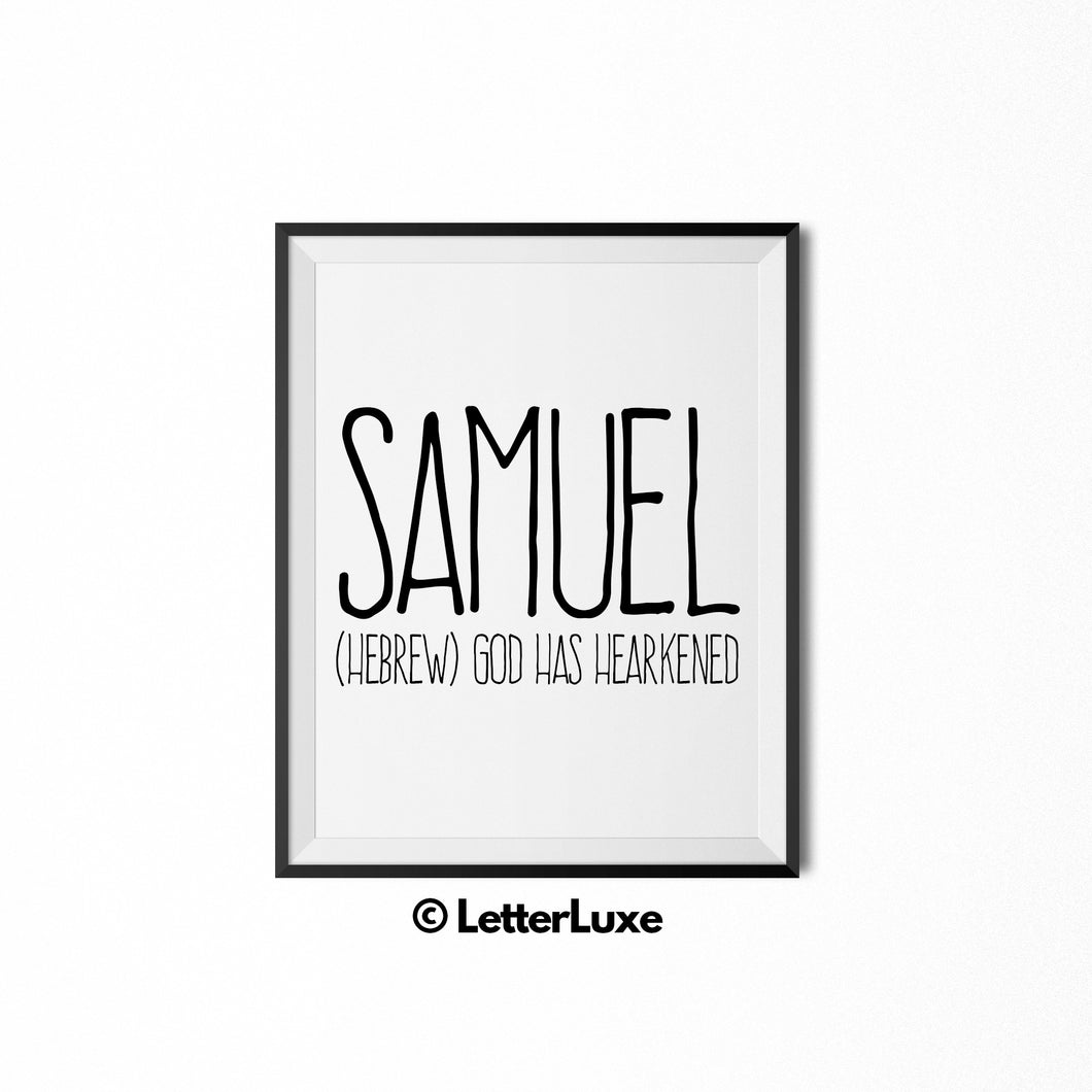 Samuel Name Meaning Art - Printable Birthday Gift