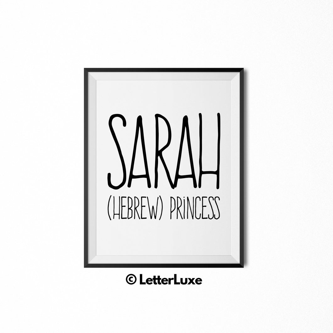 Sarah Printable Name Decor - Birthday Party Decoration Idea