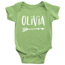 Olivia Personalized Baby Bodysuit - Name Onesie with Arrow - Baby Shower Gift - Birth Announcement Prop - LetterLuxe