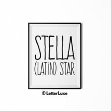 Stella Name Definition - Instant Download - LetterLuxe
