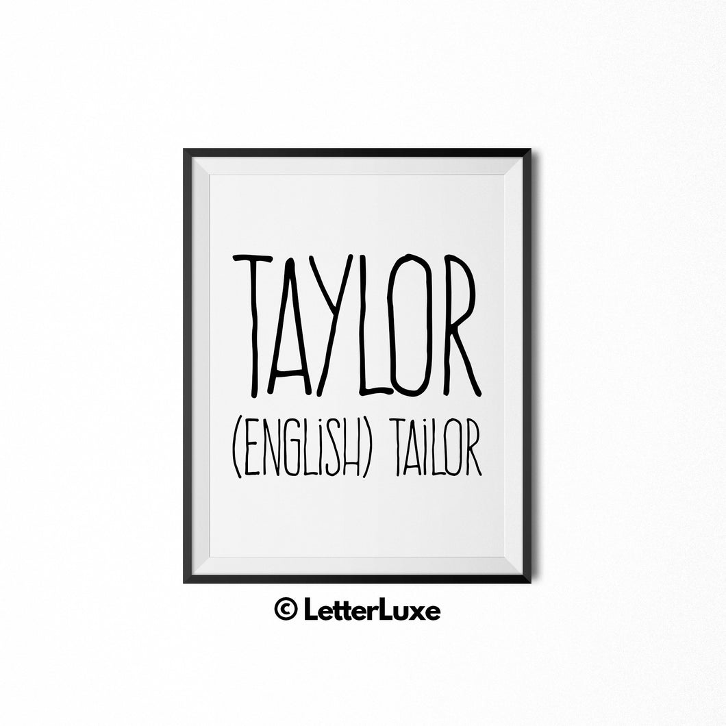 Taylor Name Defintion Wall Art - Digital Print - LetterLuxe