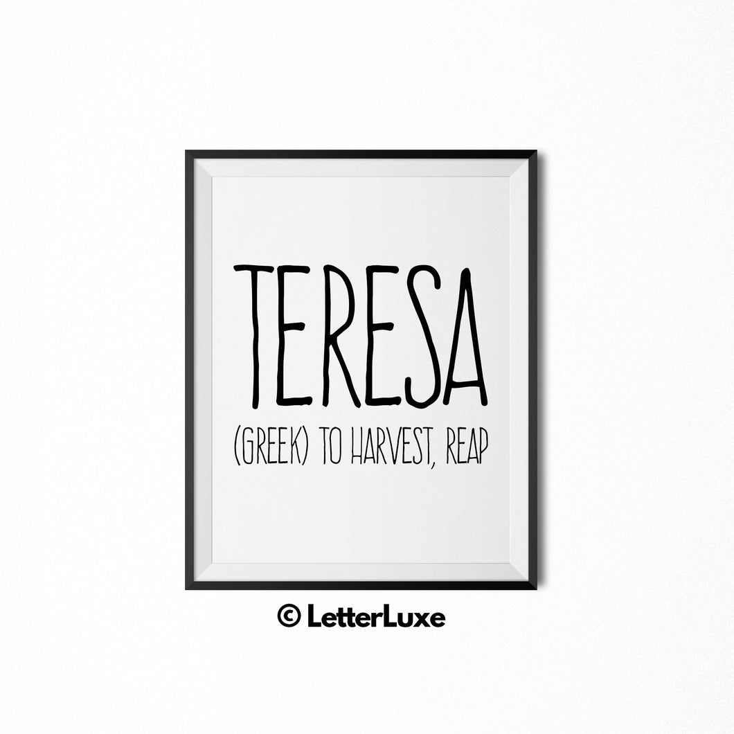 Teresa Name Meaning Print - Digital Download - LetterLuxe