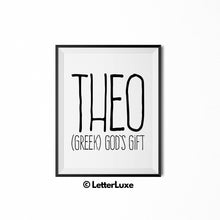 Theo Name Definition - Printable Nursery Wall Art - LetterLuxe