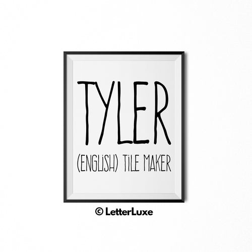 Tyler Printable Kids Gift - Personalized Baby Shower Gift - Name Meaning Art - Baby Boy Bedroom Decor