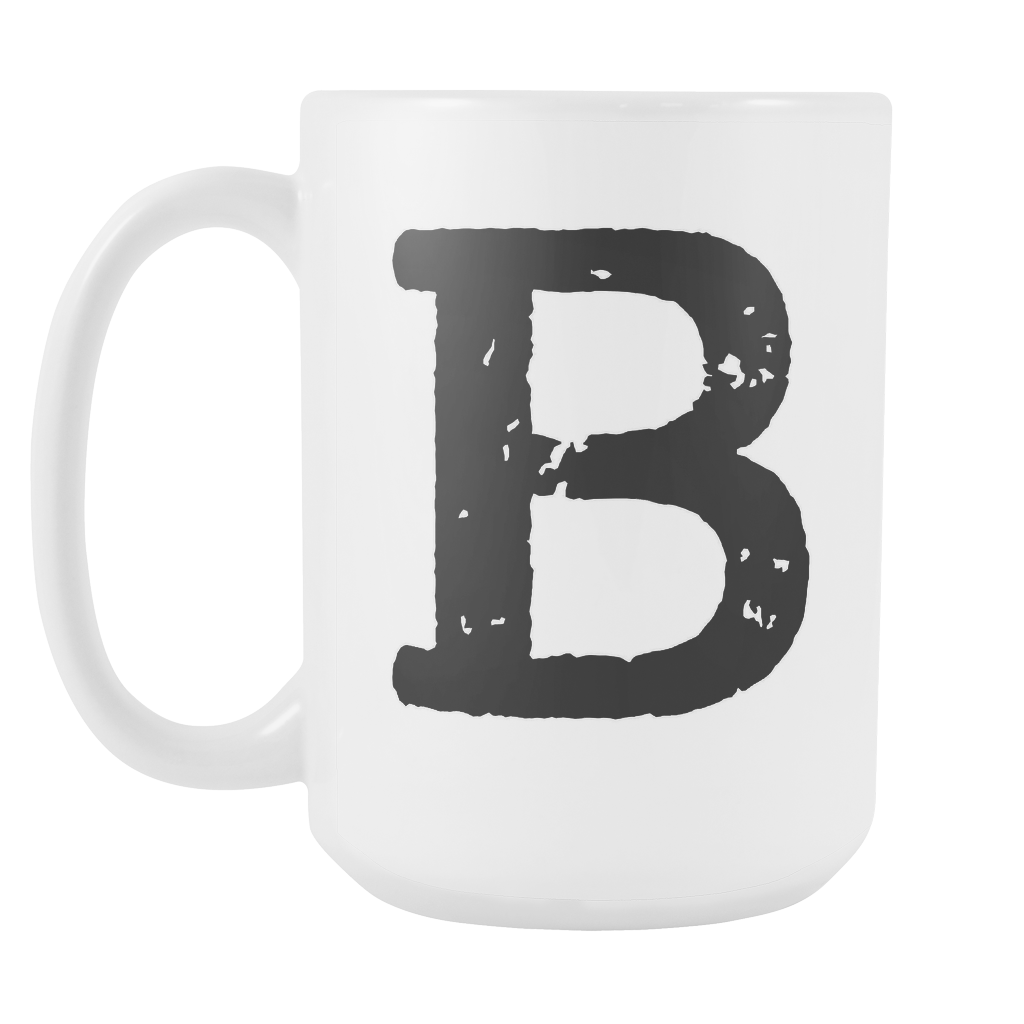 Initial Mug - Letter B - 15oz Ceramic Cup - Roommate Gift Mug - Right-Handed or Left-Handed Mug