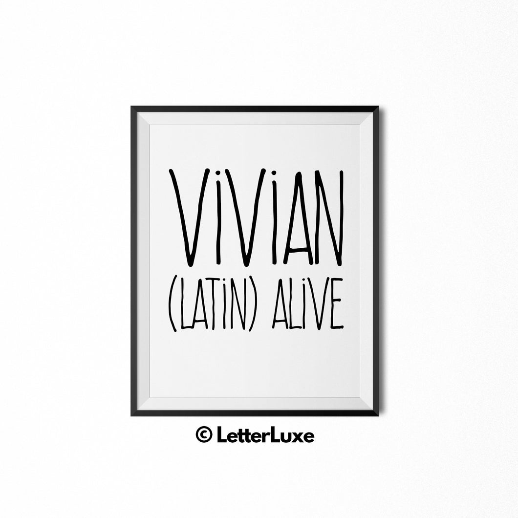 Vivian Name Meaning Art - Instant Download