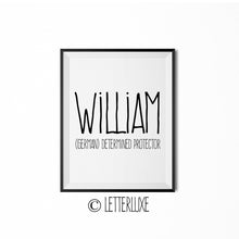William Name Meaning Wall Art - Nursery Decor for Boys