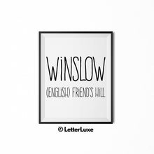 Winslow Name Definition - Printable Nursery Wall Art - Baby Shower Gift - Birthday Party Decorations