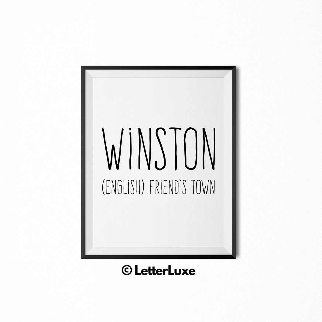 Winston Name Meaning - Nursery Decor - Printable Art - LetterLuxe